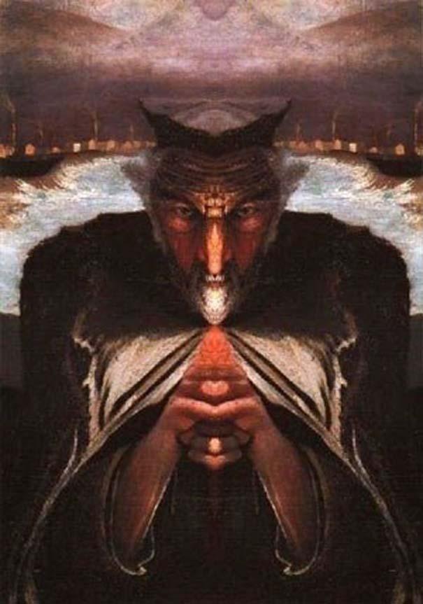 Καθρέφτης μετατρέπει τον παλιό πίνακα ζωγραφικής ενός ψαρά σε διάβολο (3)