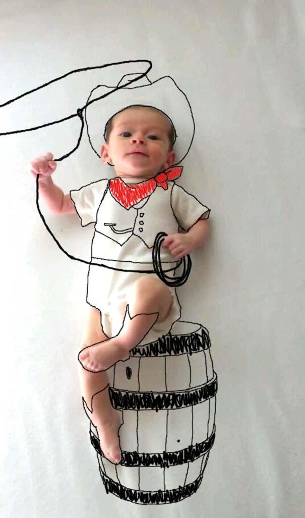 Μητέρα μετέτρεψε απλές φωτογραφίες του μωρού της σε απίθανα σκίτσα (4)
