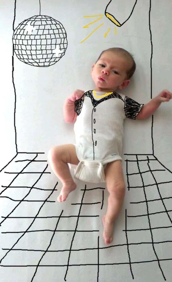 Μητέρα μετέτρεψε απλές φωτογραφίες του μωρού της σε απίθανα σκίτσα (6)