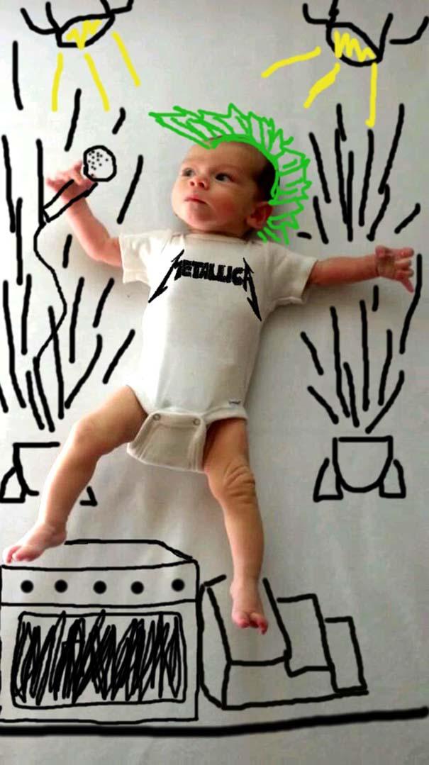 Μητέρα μετέτρεψε απλές φωτογραφίες του μωρού της σε απίθανα σκίτσα (8)
