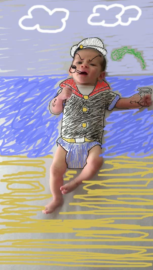 Μητέρα μετέτρεψε απλές φωτογραφίες του μωρού της σε απίθανα σκίτσα (12)