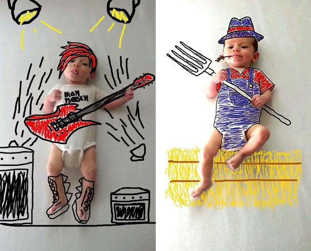 Μητέρα μετέτρεψε απλές φωτογραφίες του μωρού της σε απίθανα σκίτσα (16)
