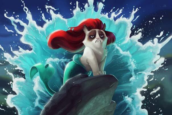 Η grumpy cat ως διάφοροι χαρακτήρες της Disney (1)