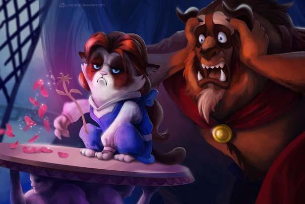Η grumpy cat ως διάφοροι χαρακτήρες της Disney (4)