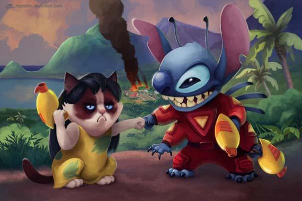 Η grumpy cat ως διάφοροι χαρακτήρες της Disney (5)