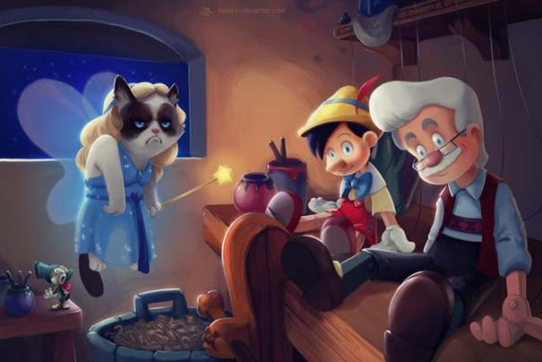 Η grumpy cat ως διάφοροι χαρακτήρες της Disney (7)