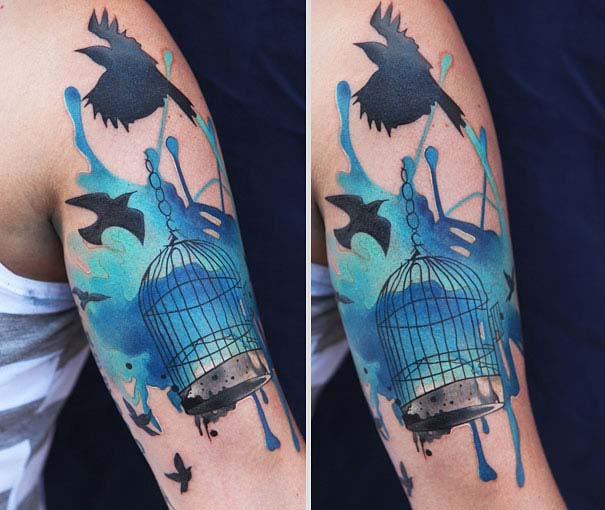 Καλλιτεχνικά τατουάζ που μοιάζουν με υδατογραφίες (40)