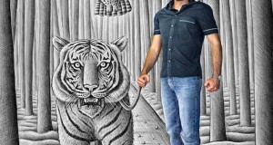 Καλλιτέχνης ποζάρει με τα απίστευτα 3D έργα του