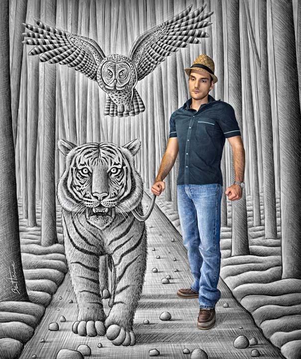 Καλλιτέχνης ποζάρει με τα απίστευτα 3D έργα του (5)