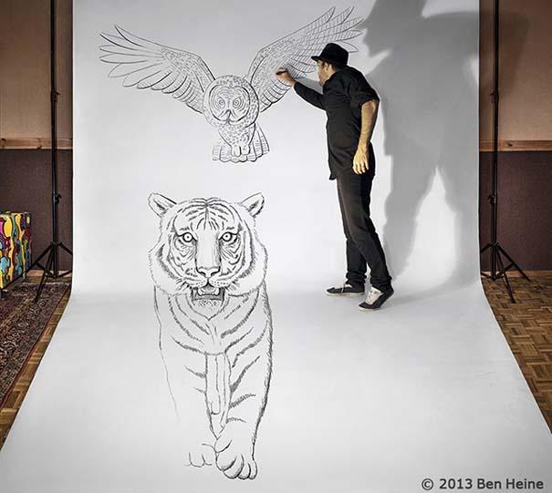 Καλλιτέχνης ποζάρει με τα απίστευτα 3D έργα του (1)