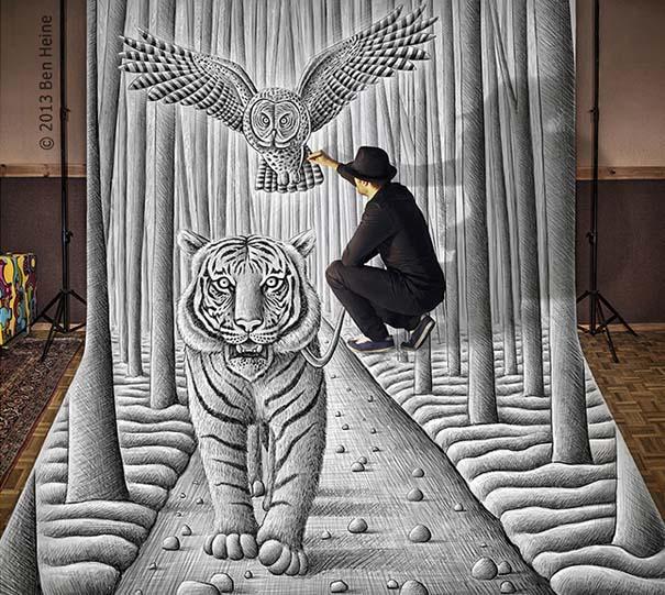 Καλλιτέχνης ποζάρει με τα απίστευτα 3D έργα του (4)