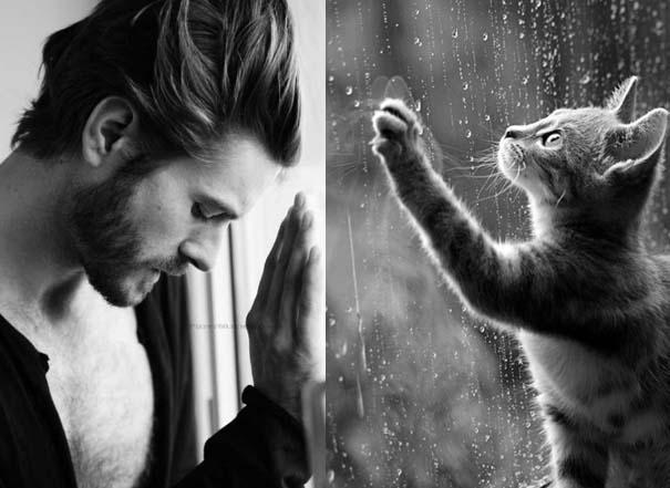Άνδρες και γάτες στις ίδιες πόζες (3)
