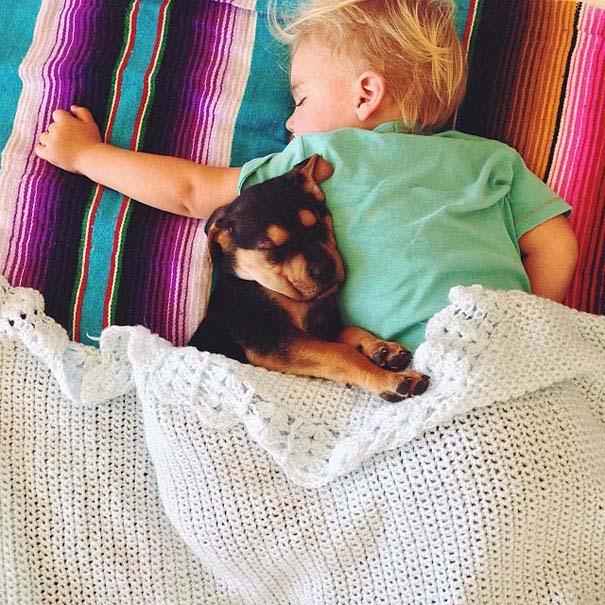 Μωρό κοιμάται με το 2 μηνών κουτάβι του κάθε μέρα (11)