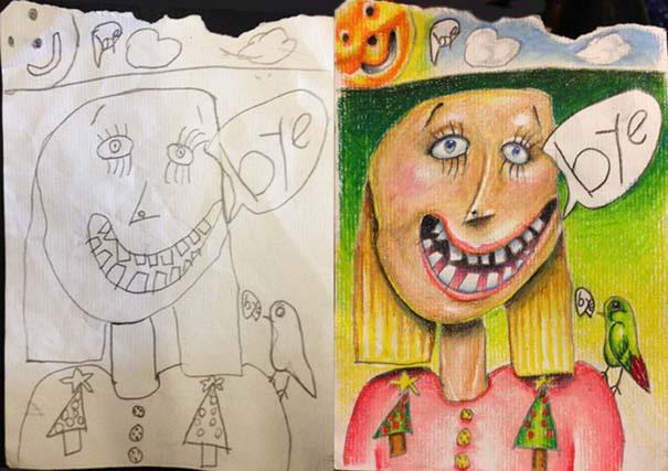 Πατέρας χρωματίζει τις ζωγραφιές των παιδιών του (2)