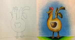 Πατέρας χρωματίζει τις ζωγραφιές των παιδιών του