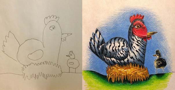Πατέρας χρωματίζει τις ζωγραφιές των παιδιών του (8)