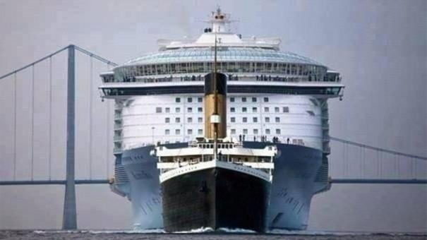 Ο Τιτανικός σε σχέση με ένα σύγχρονο κρουαζιερόπλοιο | Φωτογραφία της ημέρας
