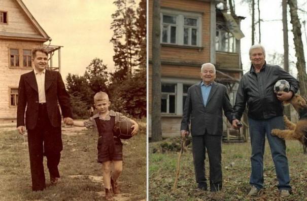 Πατέρας και γιος το 1949 και το 2009 | Φωτογραφία της ημέρας