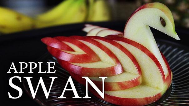 Πως να φτιάξετε έναν κύκνο από μήλο