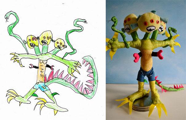 Καλλιτέχνιδα μετατρέπει τις ζωγραφιές παιδιών σε λούτρινα παιχνίδια (1)