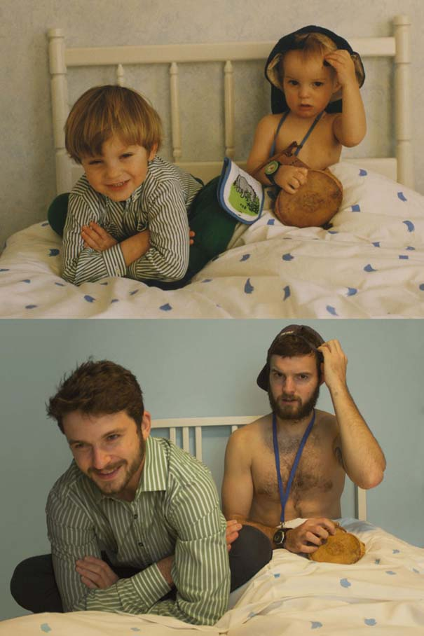 Δυο αδέρφια σε ξεκαρδιστική αναπαράσταση παιδικών φωτογραφιών (9)