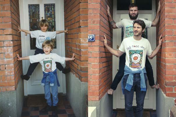 Δυο αδέρφια σε ξεκαρδιστική αναπαράσταση παιδικών φωτογραφιών (5)