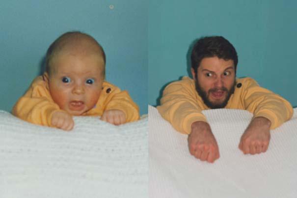 Δυο αδέρφια σε ξεκαρδιστική αναπαράσταση παιδικών φωτογραφιών (4)
