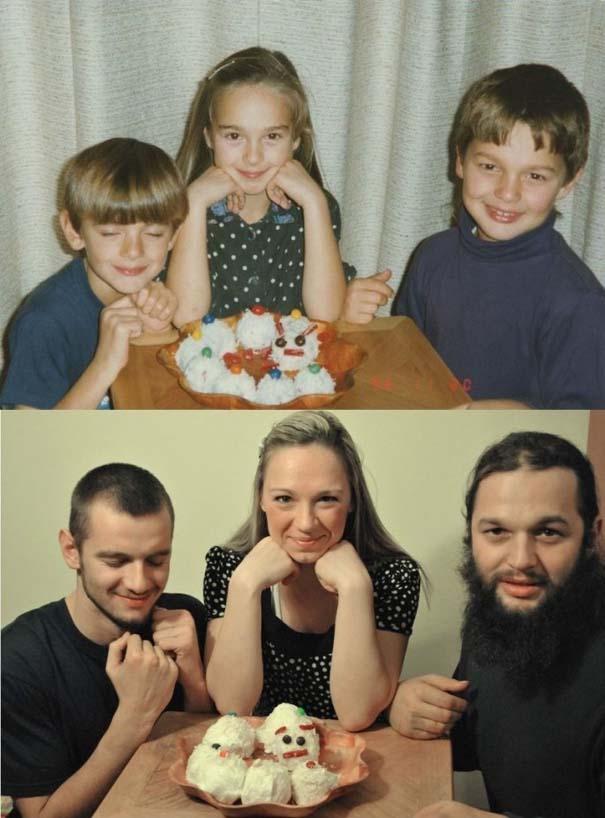 3 αδέρφια ξαναζούν την παιδική τους ηλικία μέσω αναπαράστασης των φωτογραφιών τους (4)