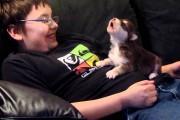 Αγόρι μαθαίνει στο κουτάβι του να ουρλιάζει