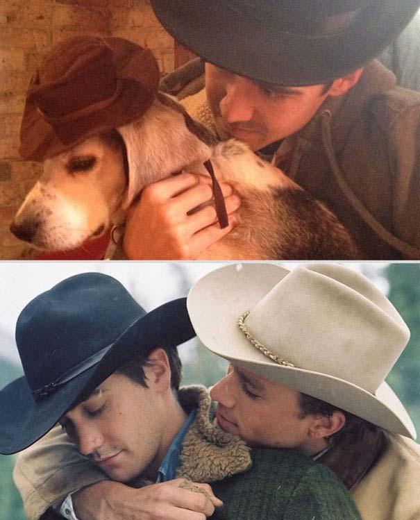Ξεκαρδιστική αναπαράσταση ταινιών από έναν άνδρα και το σκύλο του (3)