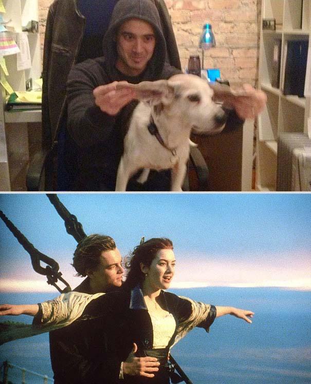 Ξεκαρδιστική αναπαράσταση ταινιών από έναν άνδρα και το σκύλο του (1)