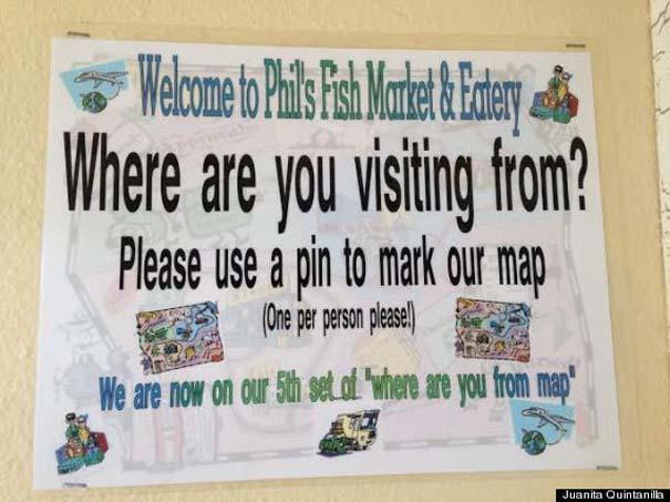 Εστιατόριο ζητάει από τους πελάτες του να βάζουν μια πινέζα στο σημείο του χάρτη απ' όπου έρχονται (2)