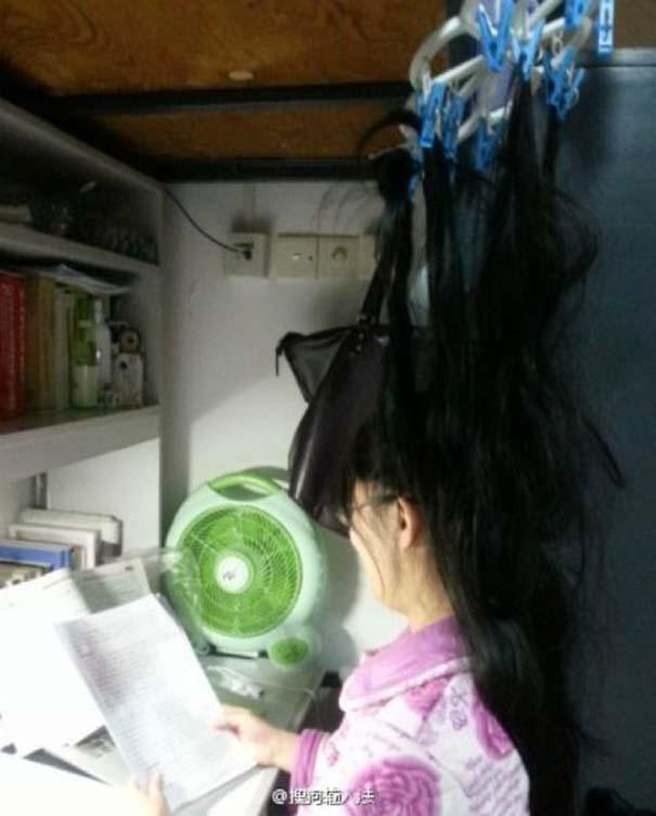 Κινέζοι φοιτητές βρήκαν έναν πολύ περίεργο τρόπο για να παραμένουν ξύπνιοι όταν διαβάζουν (7)