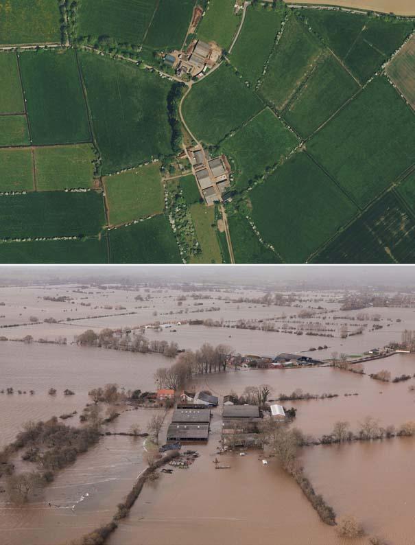 Πριν και μετά τις φονικές πλημμύρες στη Βρετανία (1)