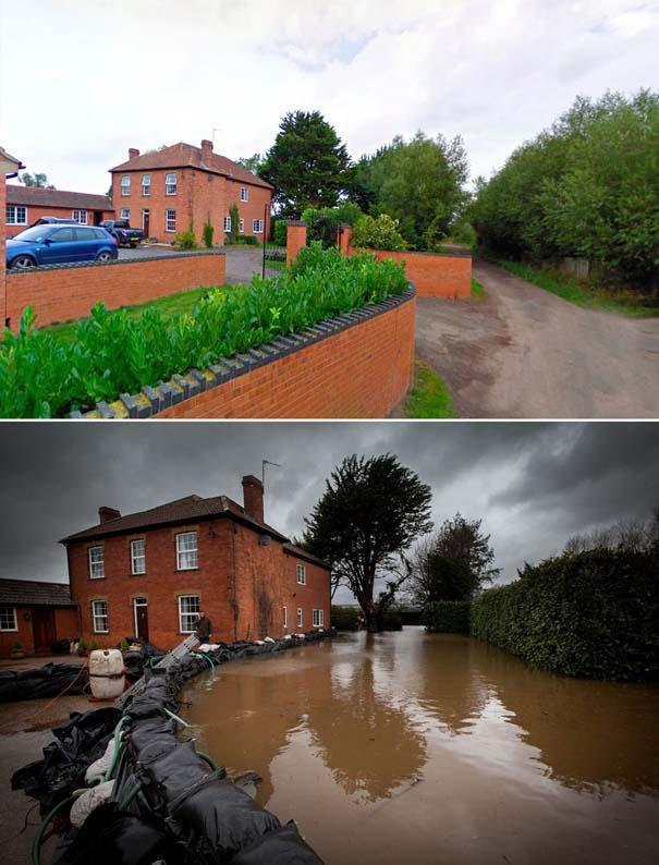 Πριν και μετά τις φονικές πλημμύρες στη Βρετανία (20)