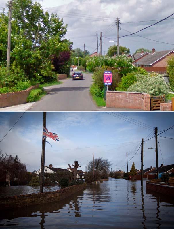 Πριν και μετά τις φονικές πλημμύρες στη Βρετανία (13)