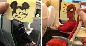 Σκιτσογράφος βρήκε έναν πολύ δημιουργικό τρόπο για να περνάει η ώρα στο τρένο