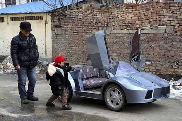 Παππούς από την Κίνα έφτιαξε Lamborghini για να πηγαίνει τον εγγονό του στο σχολείο (4)