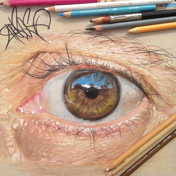 Υπερρεαλιστικές ζωγραφιές ματιών με χρωματιστά μολύβια (2)