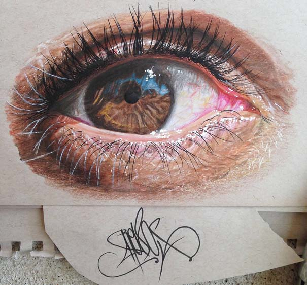 Υπερρεαλιστικές ζωγραφιές ματιών με χρωματιστά μολύβια (4)