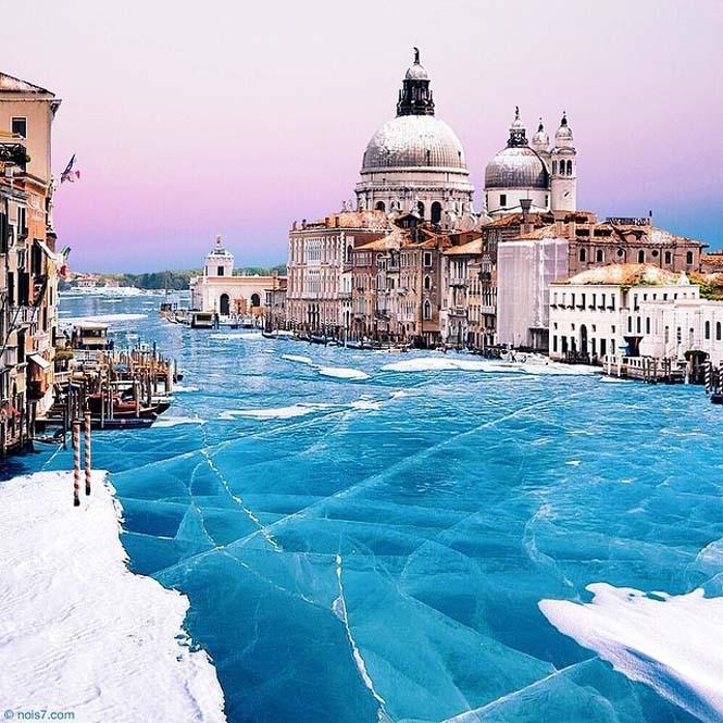 Σουρεαλιστικές εικόνες με τα κανάλια της Βενετίας εντελώς παγωμένα (2)