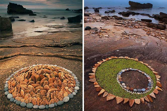Εντυπωσιακά γεωμετρικά έργα τέχνης με βότσαλα και φύλλα (1)