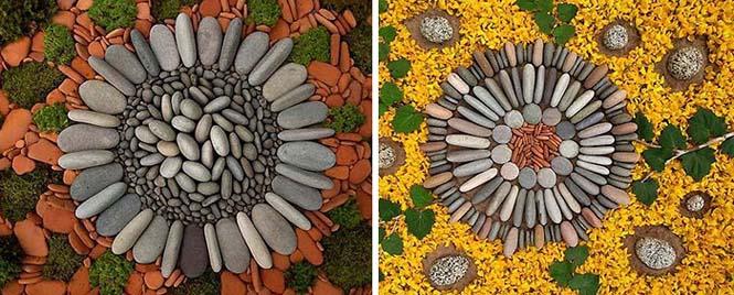 Εντυπωσιακά γεωμετρικά έργα τέχνης με βότσαλα και φύλλα (2)