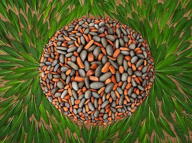 Εντυπωσιακά γεωμετρικά έργα τέχνης με βότσαλα και φύλλα (4)