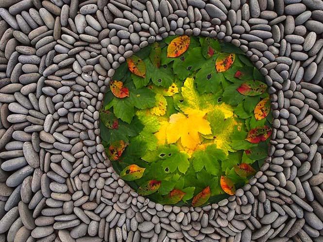 Εντυπωσιακά γεωμετρικά έργα τέχνης με βότσαλα και φύλλα (6)