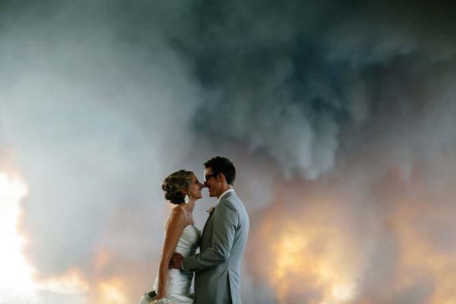 Φωτογράφηση γάμου με φόντο δασική πυρκαγιά (10)
