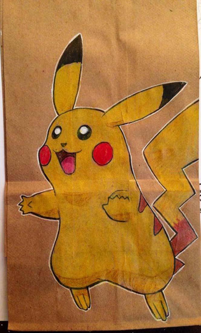 Μπαμπάς ζωγραφίζει στη σακούλα του κολατσιού του γιου του κάθε μέρα (2)