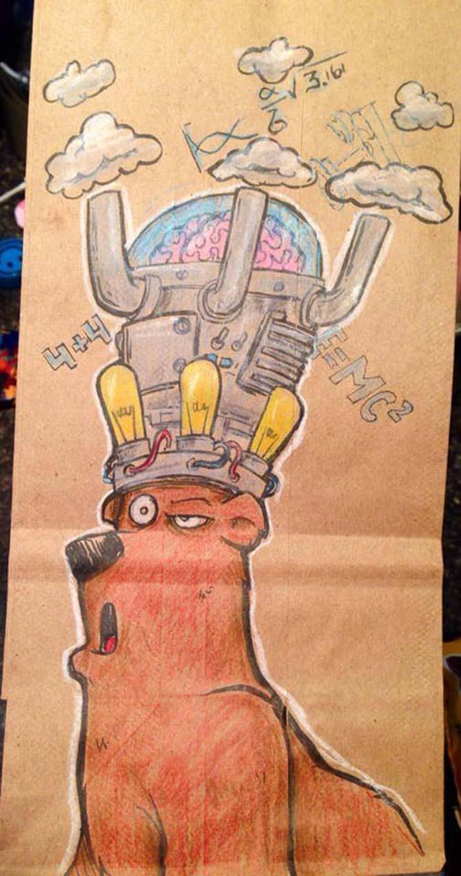 Μπαμπάς ζωγραφίζει στη σακούλα του κολατσιού του γιου του κάθε μέρα (3)