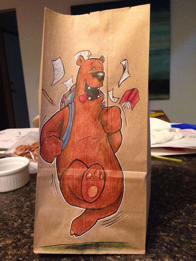Μπαμπάς ζωγραφίζει στη σακούλα του κολατσιού του γιου του κάθε μέρα (13)
