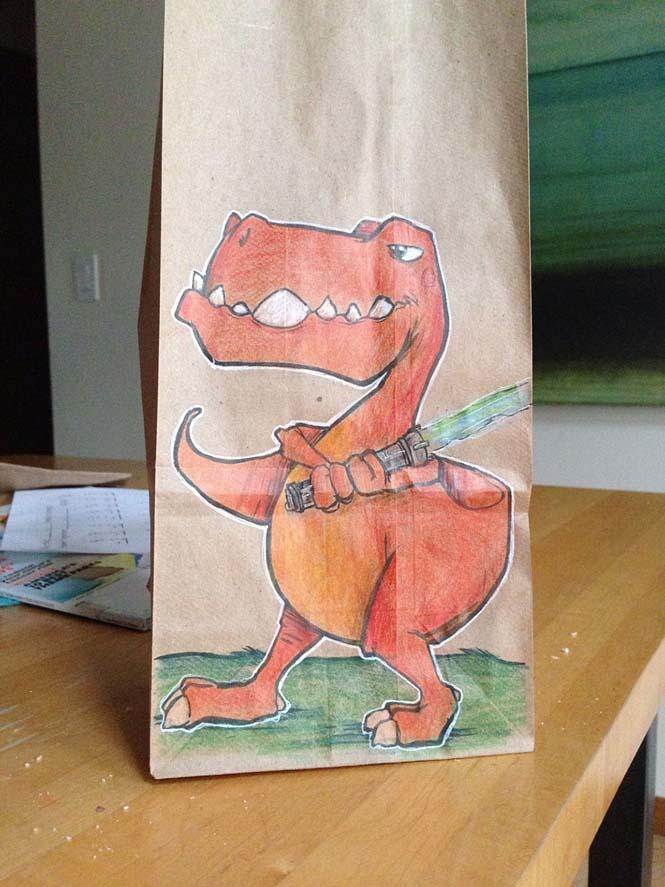 Μπαμπάς ζωγραφίζει στη σακούλα του κολατσιού του γιου του κάθε μέρα (14)